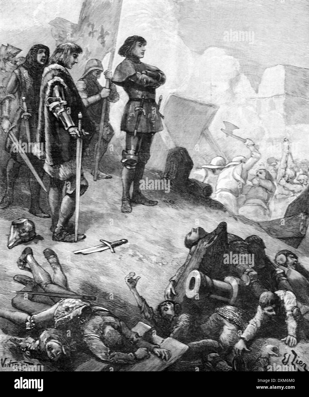 Siege of Dieppe During the 100 Years War (2 Nov 144é - 15 Aug 1443) Seine Maritime France - Stock Image