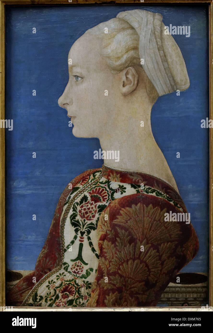Piero del Pollaiuolo - Young Woman Profile Portrait - 1465 - XV th Century - Italian School - Gemäldegalerie - Berlin - Stock Image