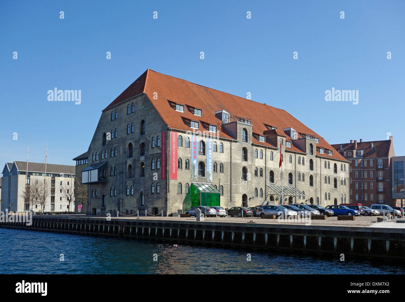 Danish Centre of Architecture (Dansk Arkitektur Center) in old warehouse Copenhagen Harbour Christianshavn Copenhagen Denmark - Stock Image