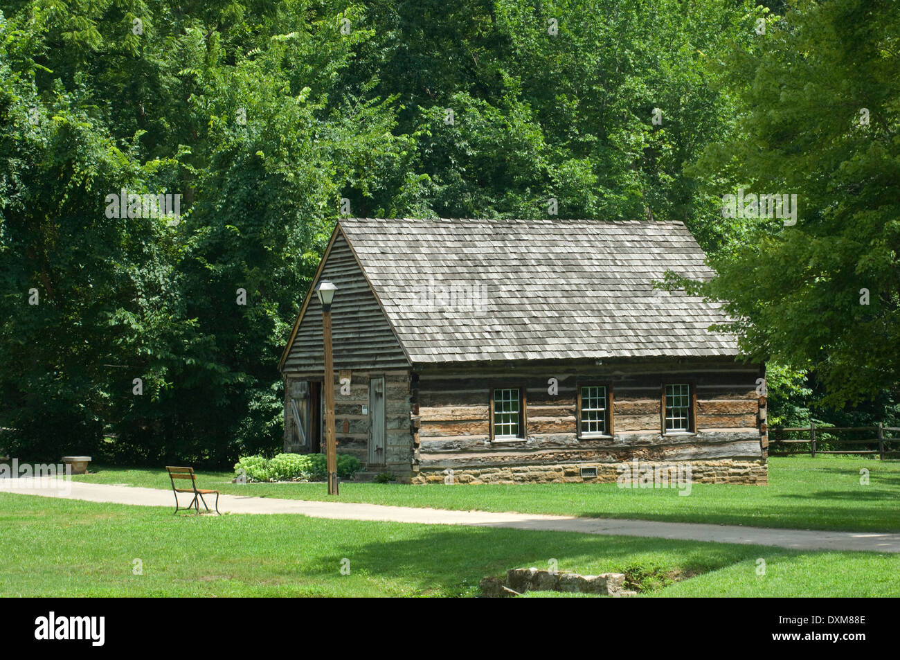 Log meeting-house (restored) in Spring Mill Pioneer Village, Indiana. Digital photograph Stock Photo