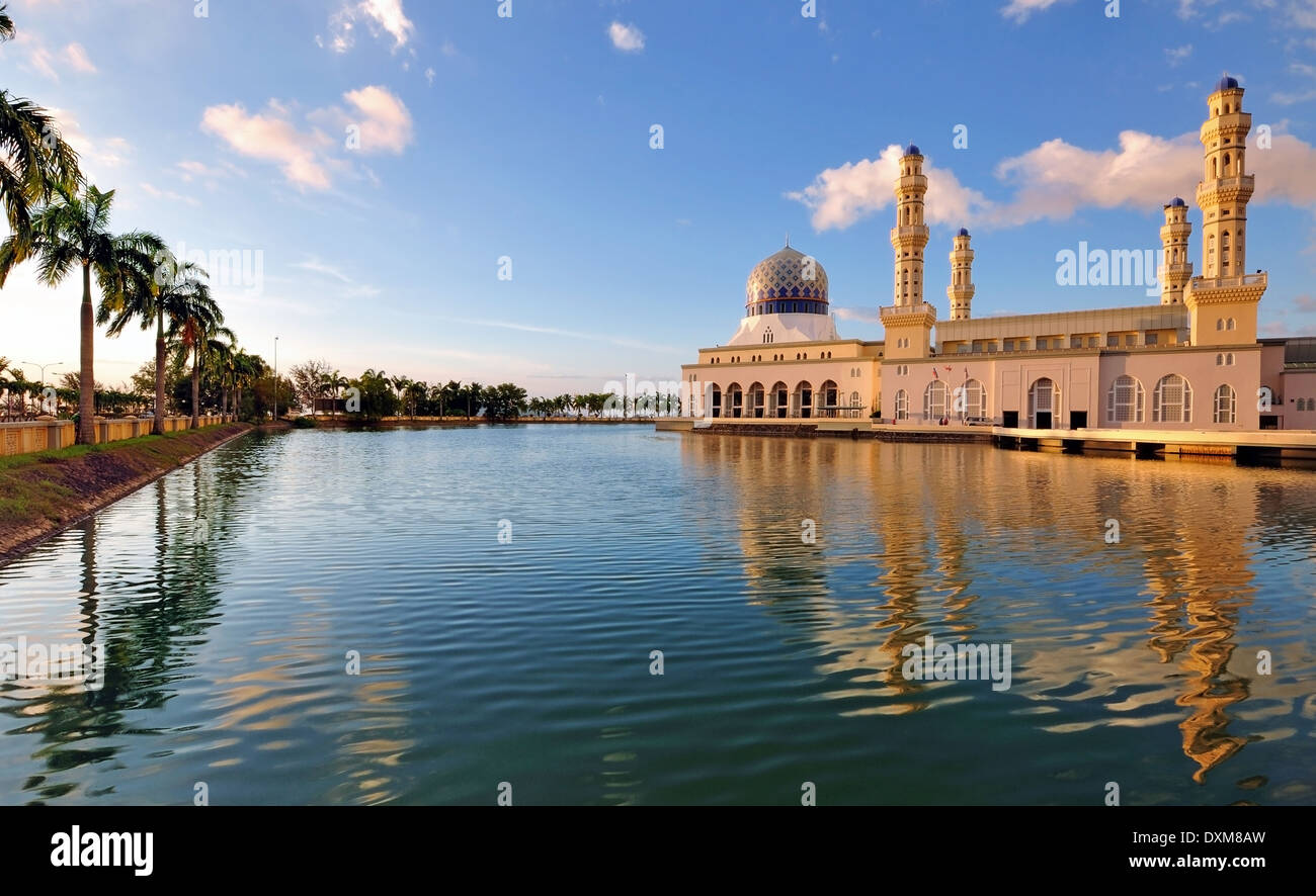 Kota Kinabalu Floating Mosque Day Time Image With Reflection - Stock Image