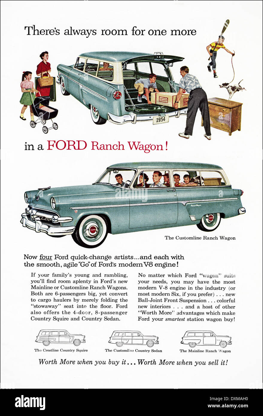 1950s advertisement for Ford Ranch Wagon estate car advert in American magazine circa 1954 - Stock Image