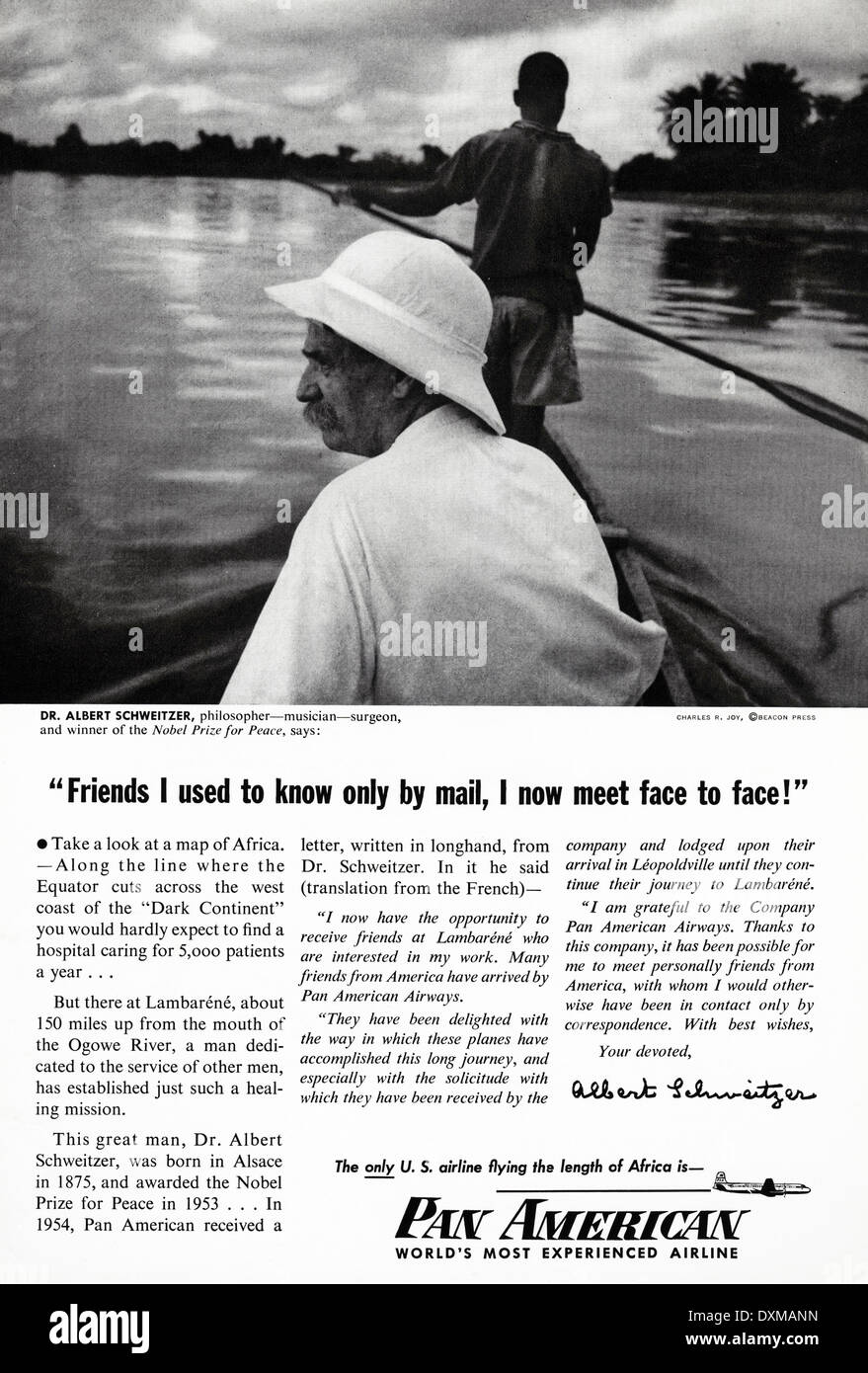 1950s advertisement for Pan American airlines advert in American magazine circa 1954 - Stock Image