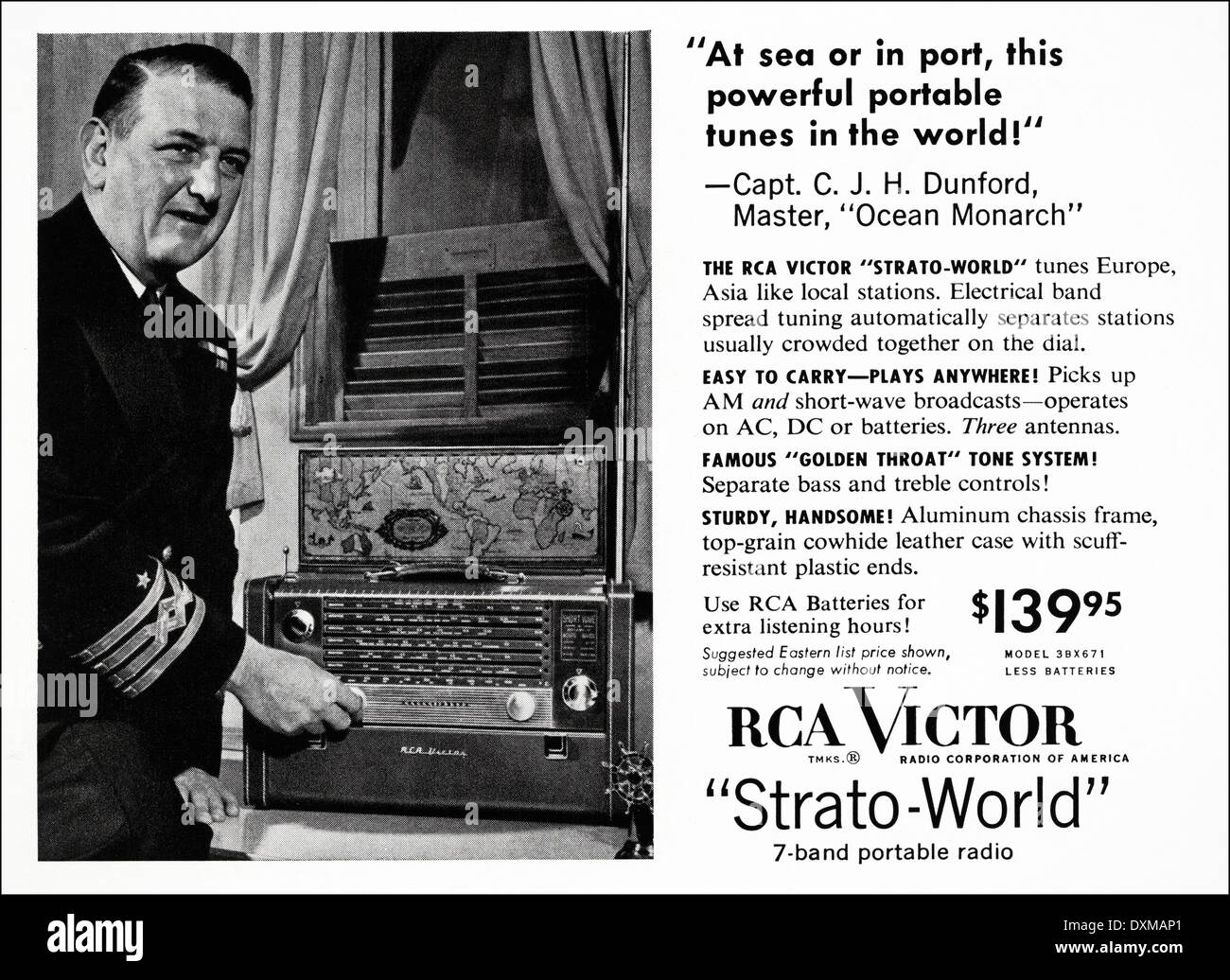 1950s Advertisement For RCA Victor Portable Radio Advert In American Magazine Circa 1954