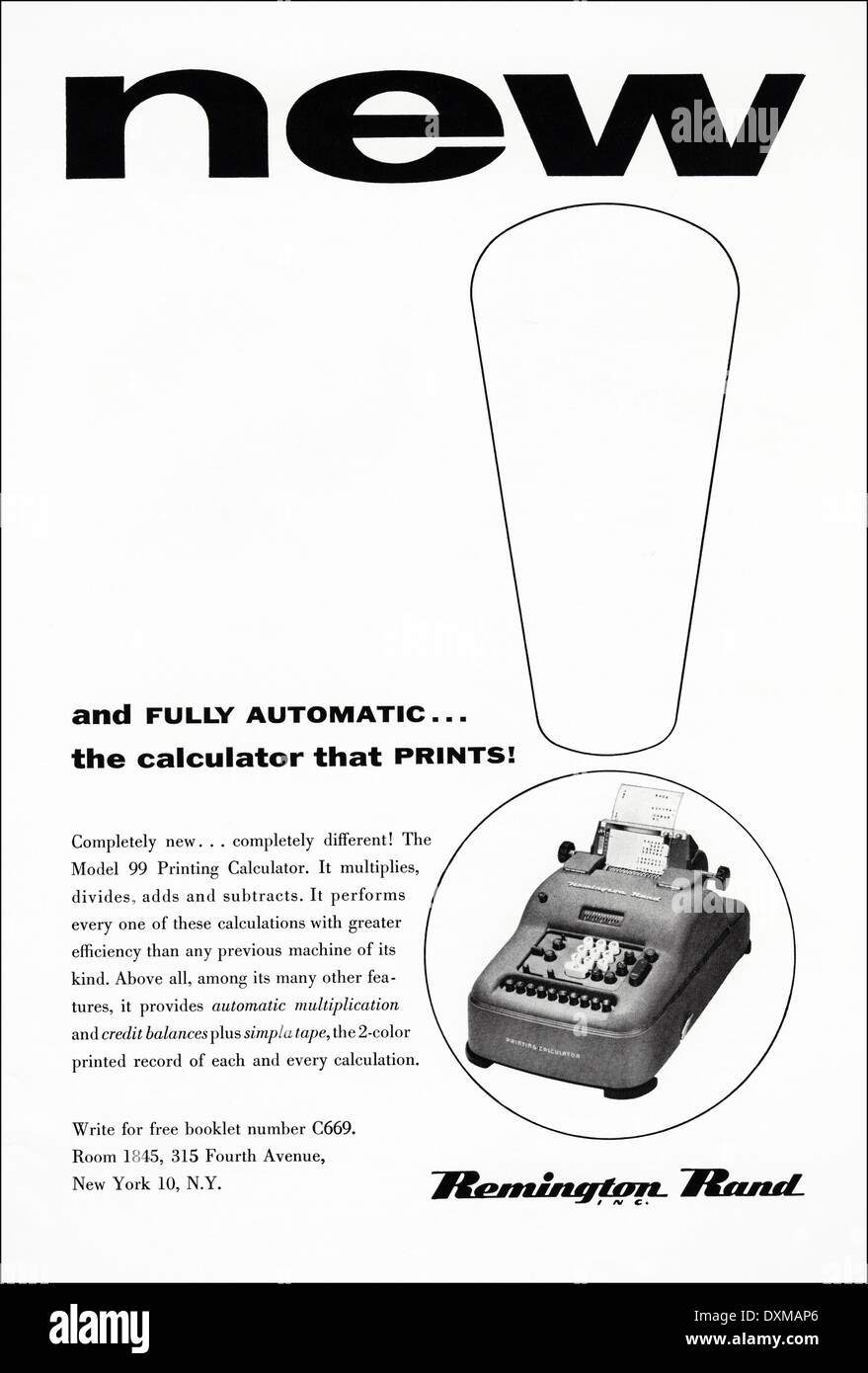 1950s advertisement for Remington Rand calculator advert in American magazine circa 1954 - Stock Image
