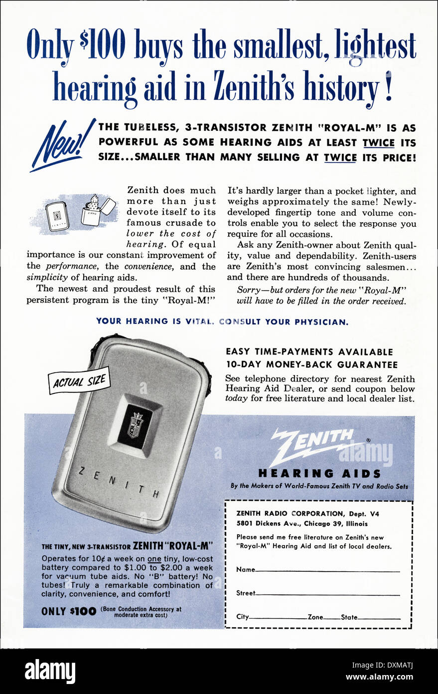 1950s advertisement for Zenith Hearing Aids advert in American Stock