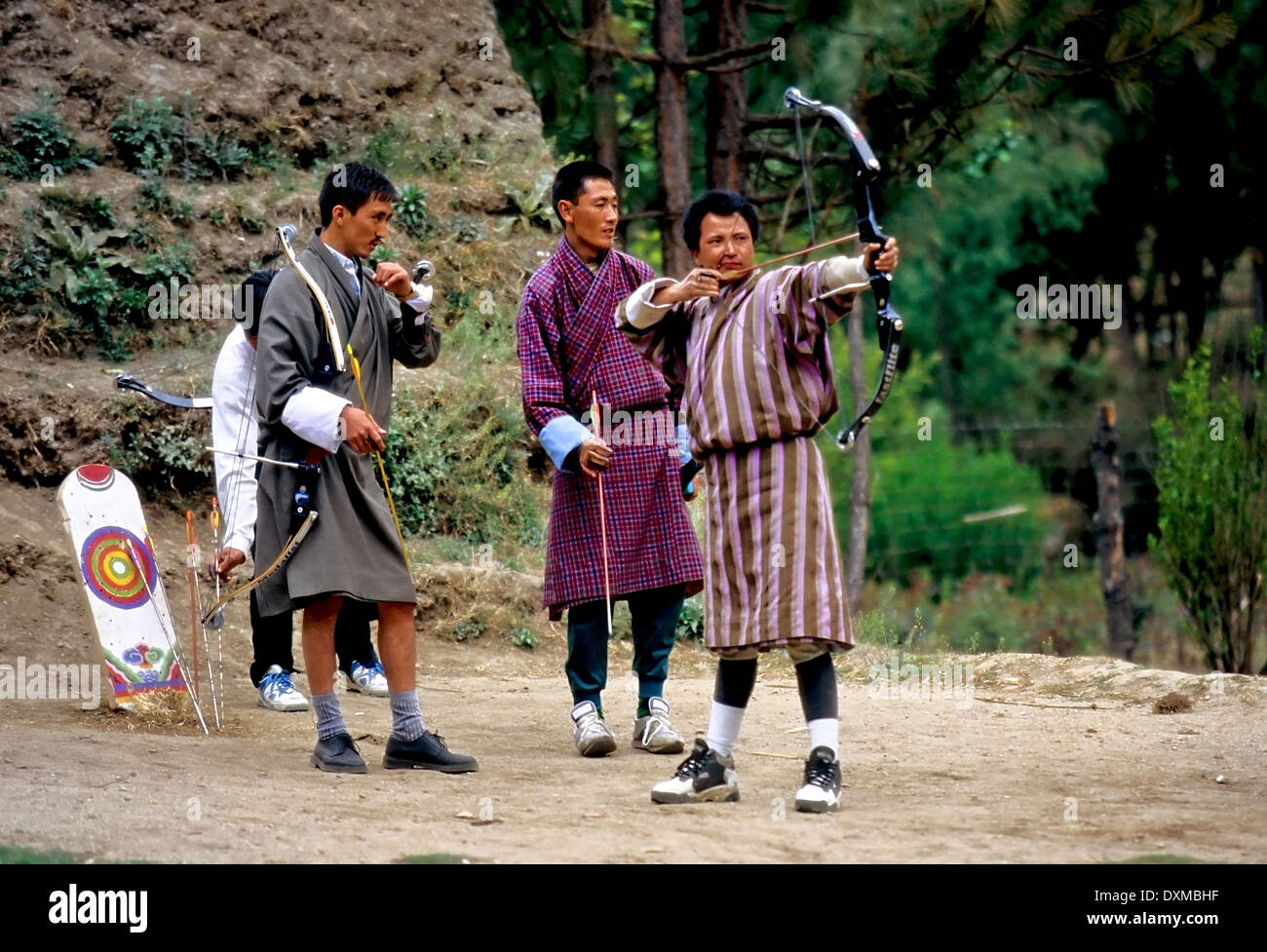 Archery practice in Thimpu, Bhutan. Digitally Manipulated Image. Stylised by sharpening and enhancing color. - Stock Image