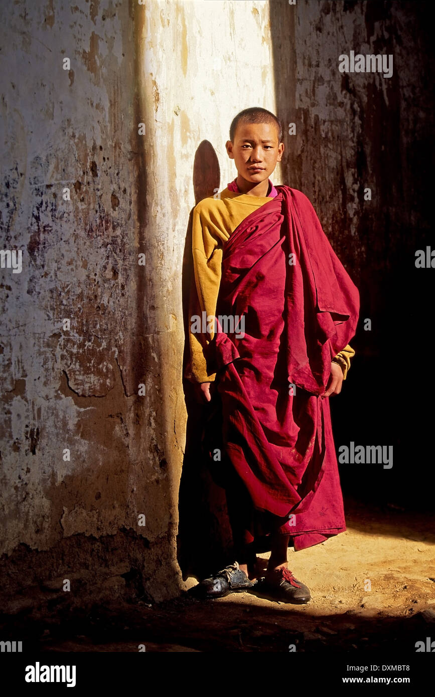 Young monk in shaft of sunlight at Gangtey Dzong. Digitally Manipulated Image. Stylised by sharpening and enhancing color. - Stock Image