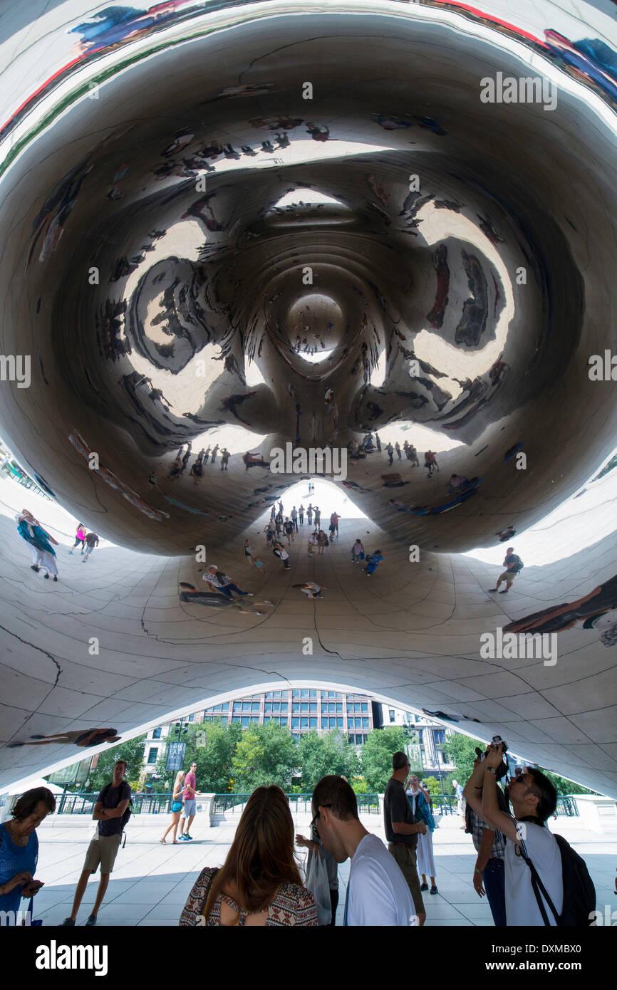 Chicago, Illinois, United States of America, Cloud Gate sculpture Millennium Park - Stock Image