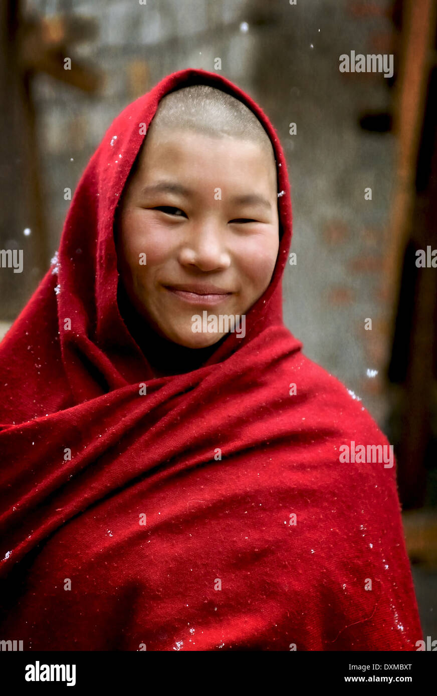 Buddhist nun in nunnnery in Thimpu, Bhutan. Digitally Manipulated Image. Stylised by sharpening and enhancing color. - Stock Image