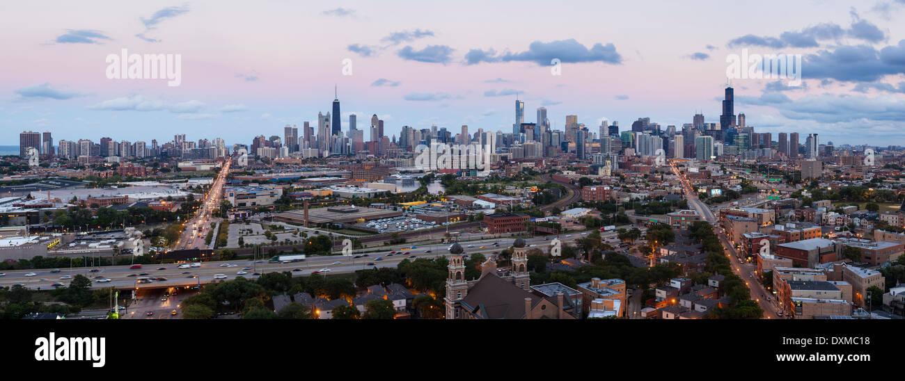 Chicago, Illinois, United States of America, city skyline panoramic - Stock Image