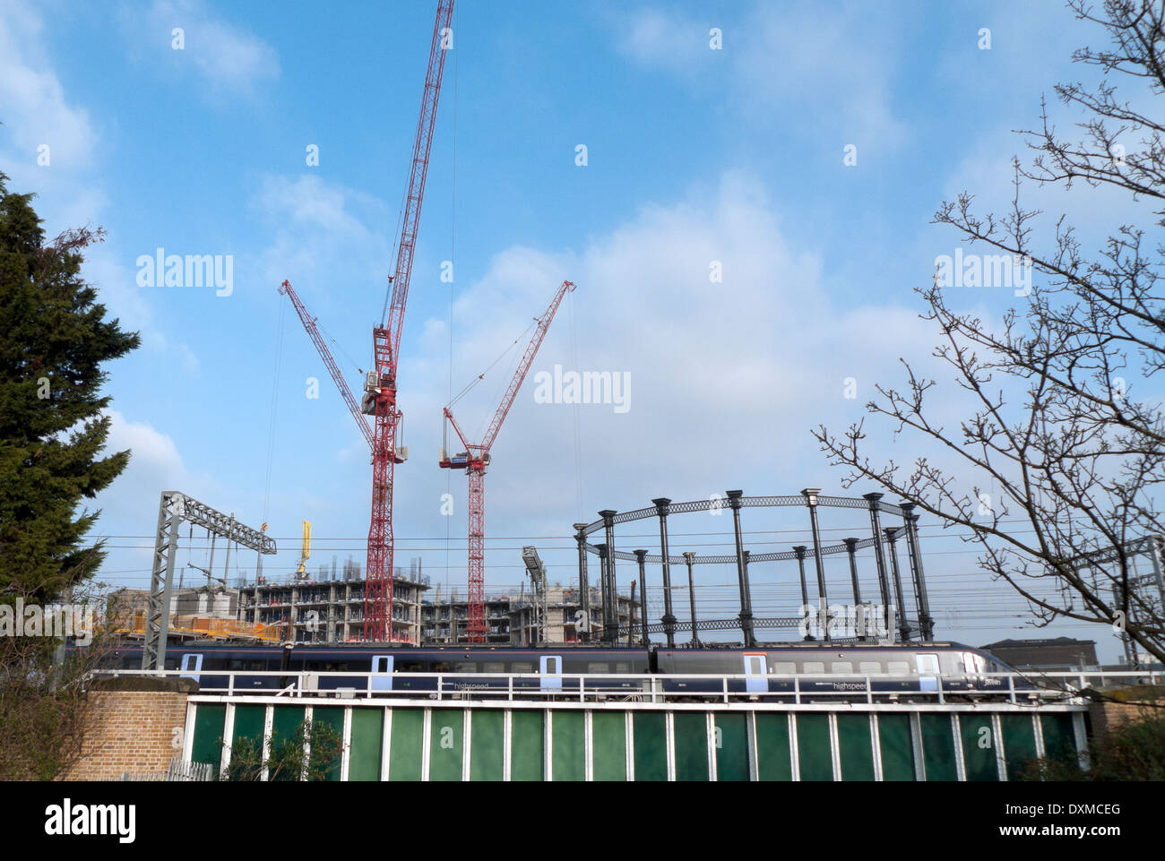 Gasholder No 8 viewed from Camley Park near St. Pancras in Kings Cross London NW1 UK KATHY DEWITT - Stock Image