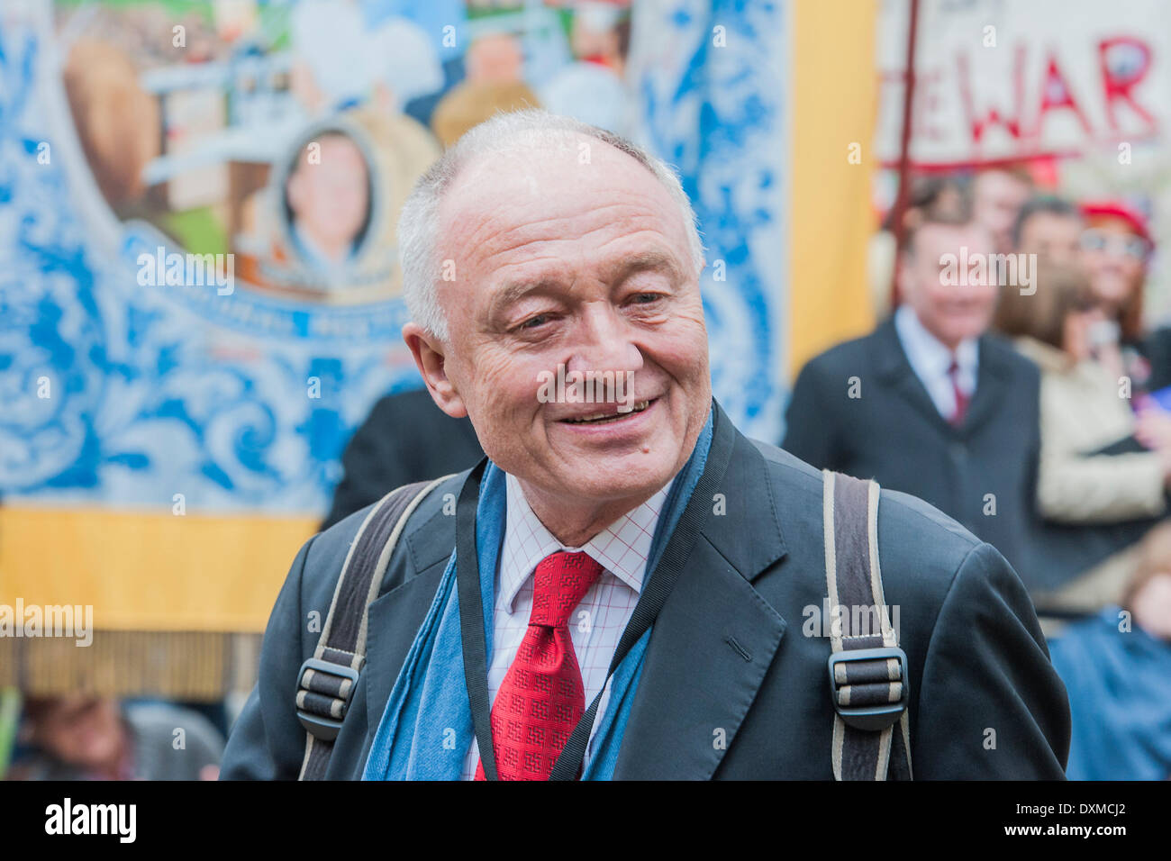 London, UK . 27th Mar, 2014. Ken Livingstone. Tony Benn's funeral at 11.00am at St Margaret's Church, Westminster. His body was brought in a hearse from the main gates of New Palace Yard at 10.45am, and was followed by members of his family on foot. The rout was lined by admirers. On arrival at the gates it was carried into the church by members of the family. Thursday 27th March 2014, London, UK. Credit:  Guy Bell/Alamy Live News - Stock Image