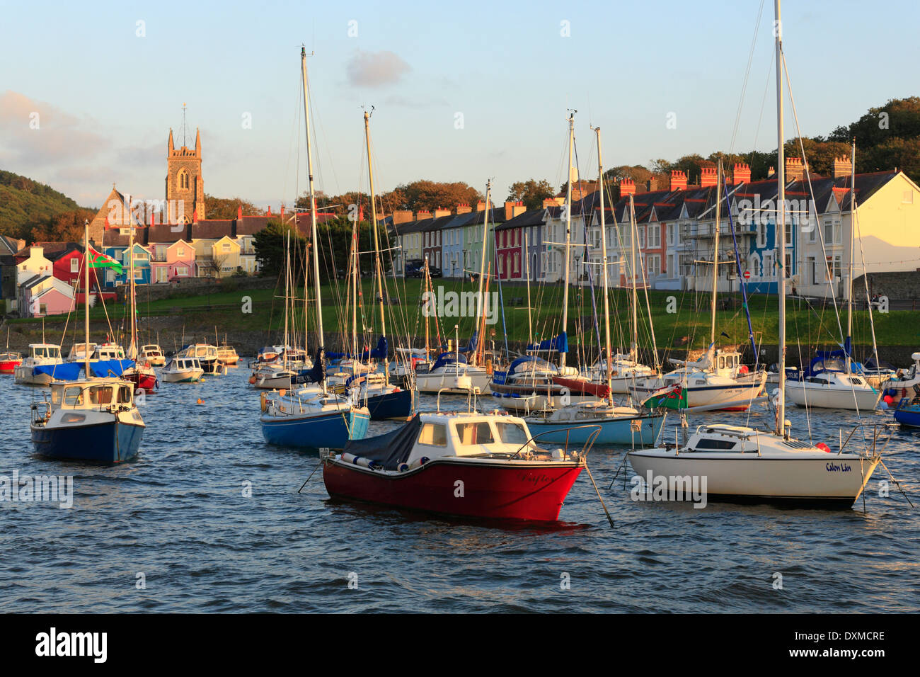 Boats in the harbour at Aberaeron, Ceredigion, Wales, UK. - Stock Image