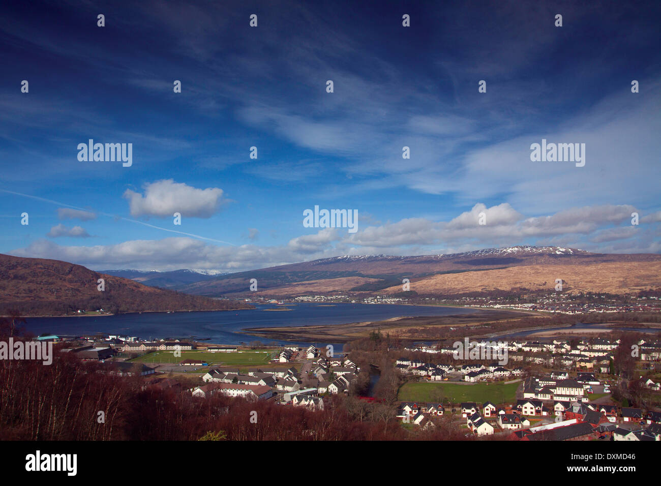 Fort William and Loch Linnhe from Cow Hill, Lochaber Stock Photo