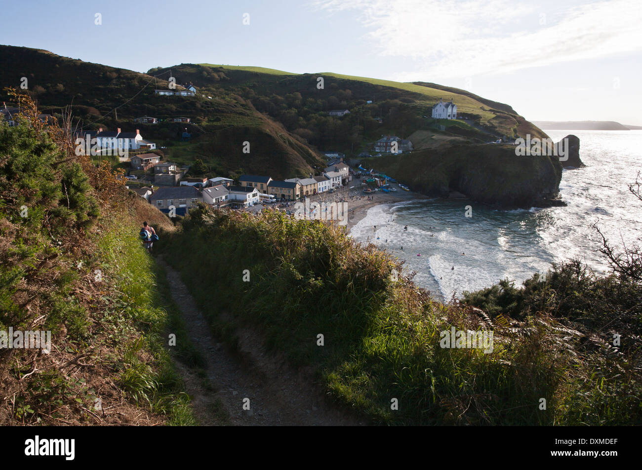 Llangrannog beach in Wales. - Stock Image