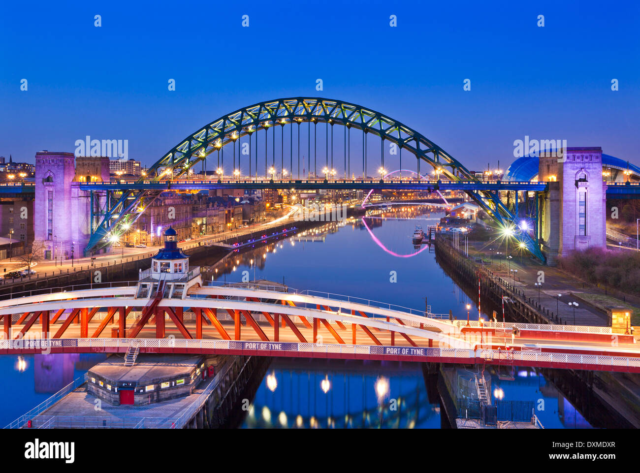 Newcastle upon Tyne city view with Tyne bridge and swing bridge over River Tyne Tyne and Wear Tyneside England UK GB EU Europe - Stock Image