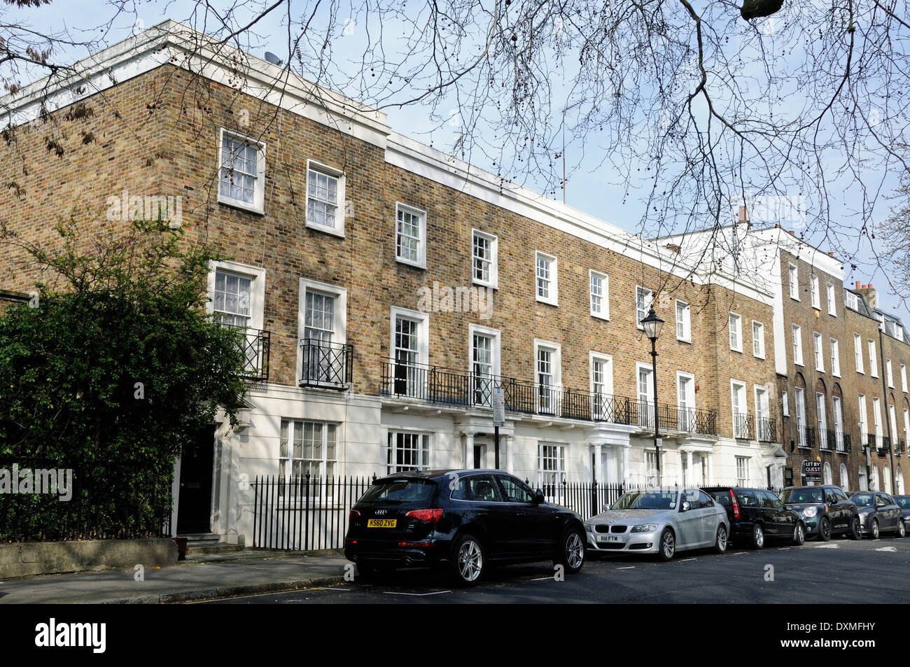 Terrace of neo Georgian houses in Canonbury Square, London Borough of Islington England Britain UK - Stock Image