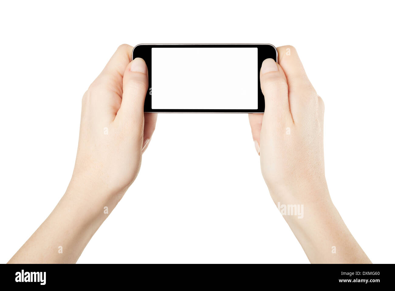 Hands holding smartphone device in horizontal, gaming - Stock Image