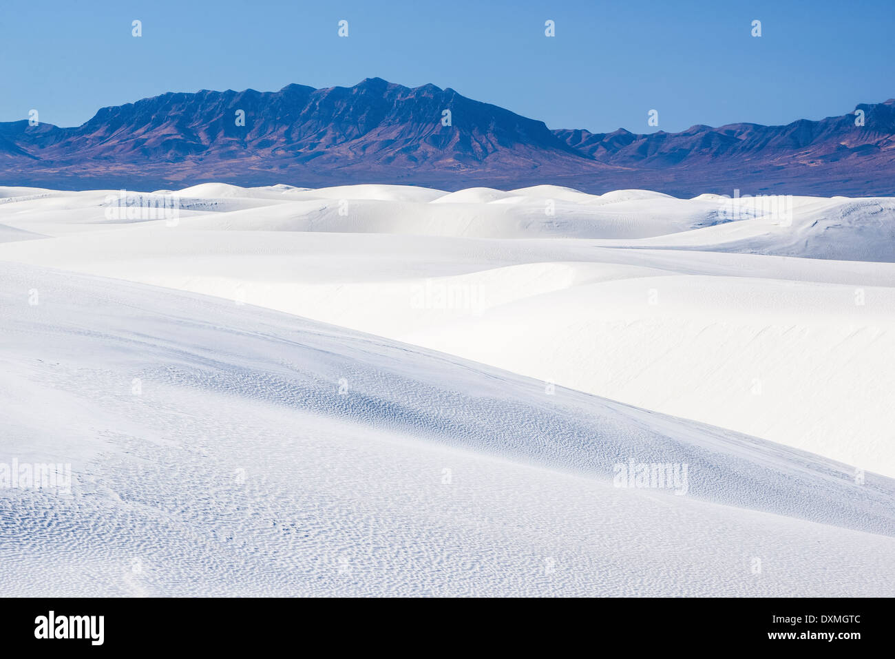 Sand dunes and San Andres Mountains, White Sands National Monument, New Mexico. - Stock Image