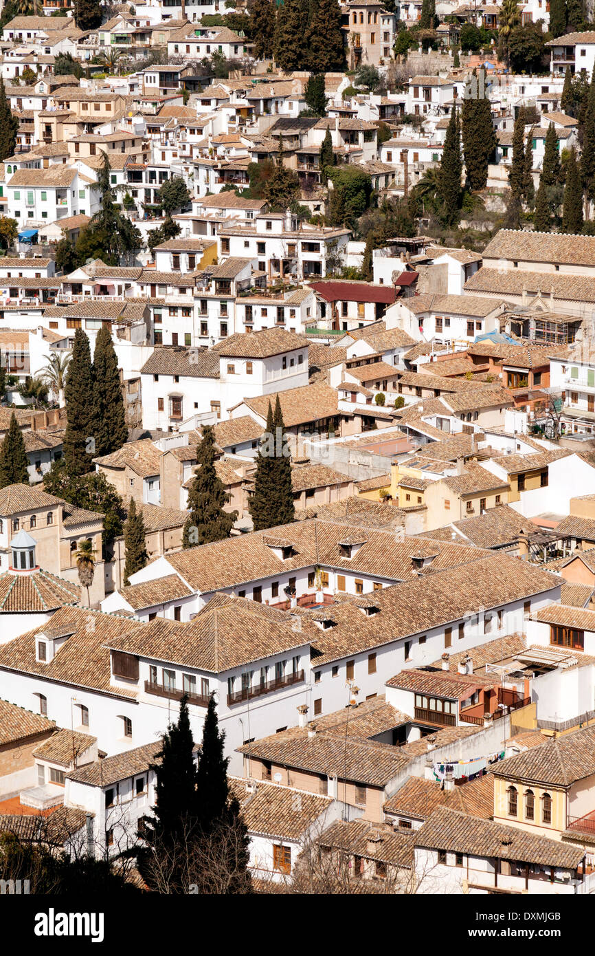 Tiled rooftops, Granada, Andalusia, Spain Europe - Stock Image