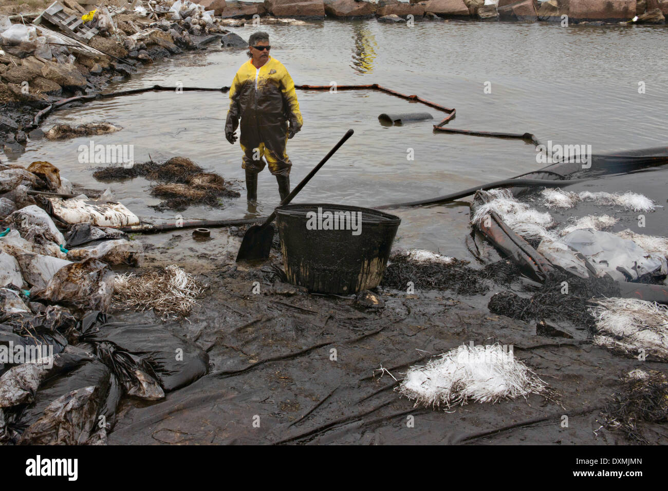 Cleanup crews fill bags with oil-absorbent material after a collision between a bulk carrier and the barge near Texas City Dike spilling oil into an environmentally sensitive area at Big Reef March 26, 2014 in Galveston, Texas. - Stock Image
