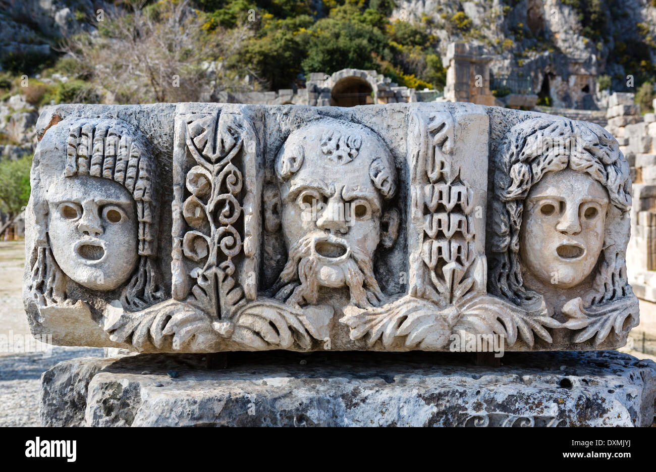 Carvings in the ancient ruins at Myra, Demre, Antalya Province, Lycia, Turkey - Stock Image