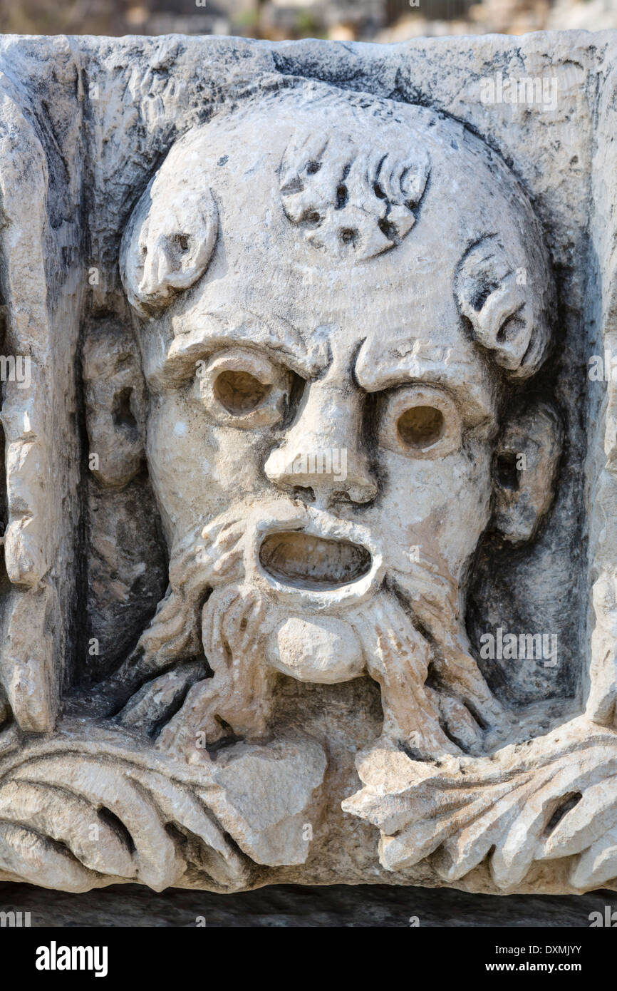 Carving in the ancient ruins at Myra, Demre, Antalya Province, Lycia, Turkey - Stock Image