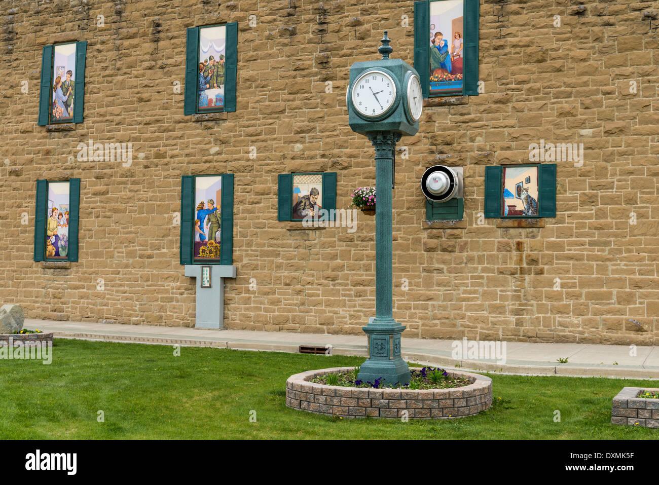 Windows with murals featuring veterans, Canadian Legion, Pincher Creek, Alberta, Canada - Stock Image