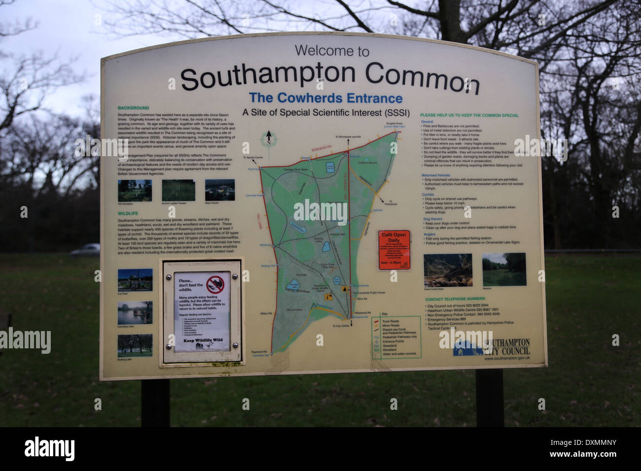 Hampshire England Southampton Common Cowherds Entrance Sign Site Of Special Scientific Interest (SSSI) - Stock Image