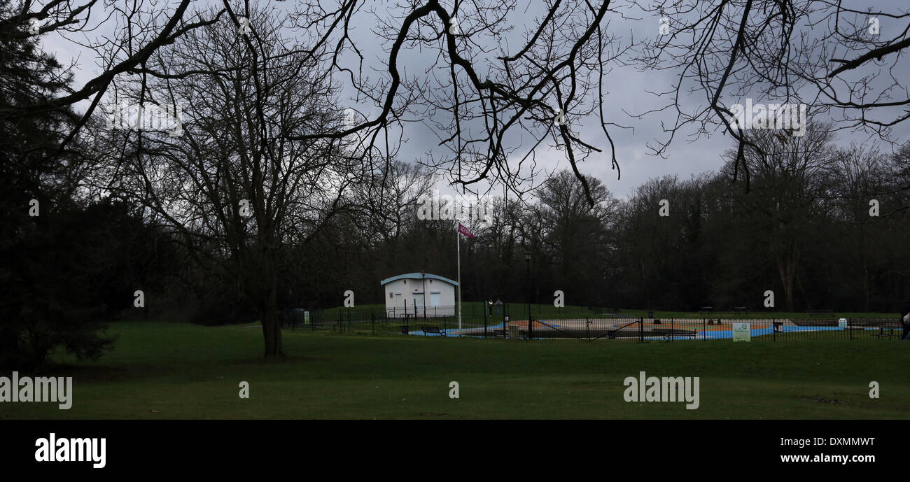 Hampshire England Southampton Common During Winter Outside Swimming Pool - Stock Image