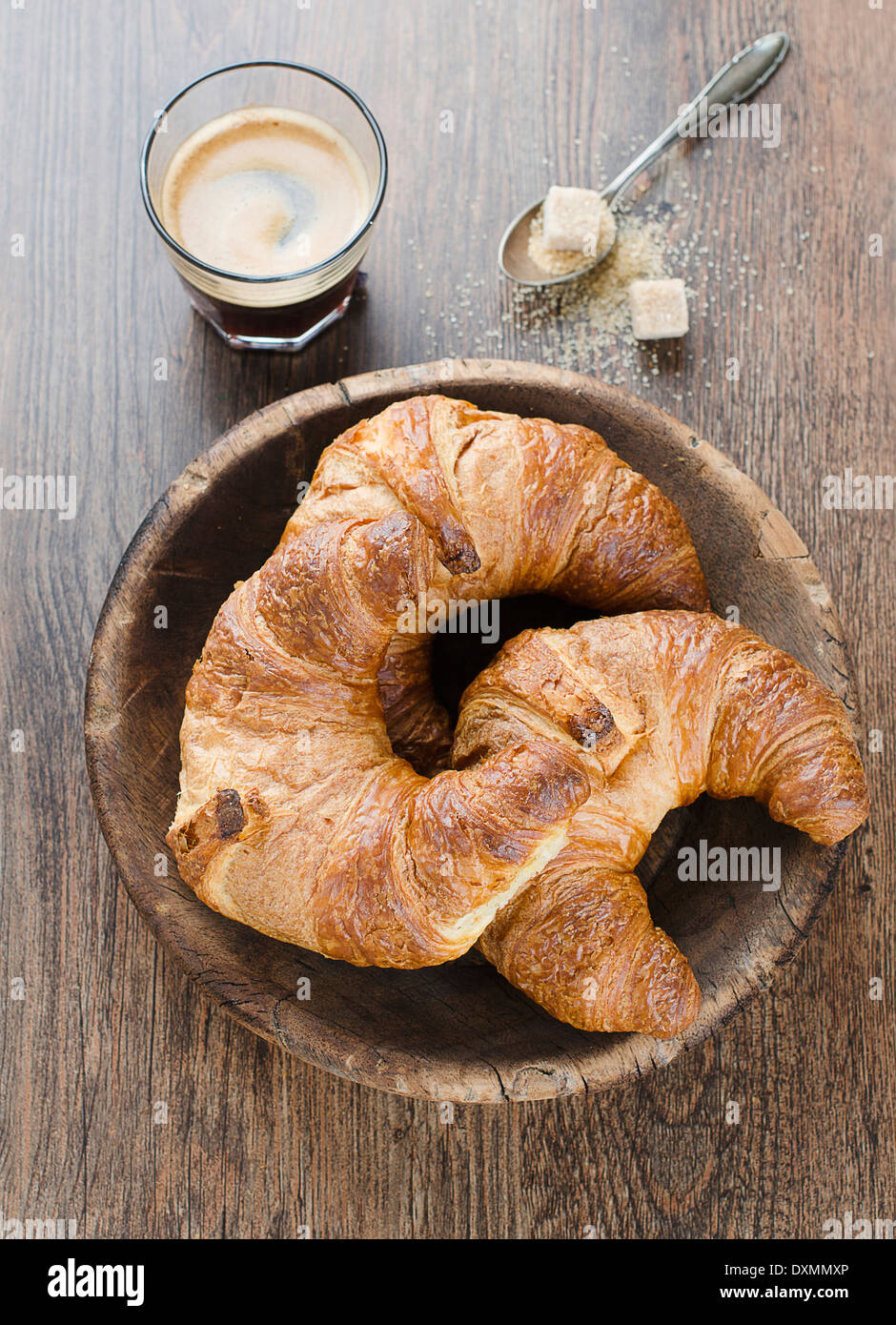 Breakfast with croissants and coffee. - Stock Image