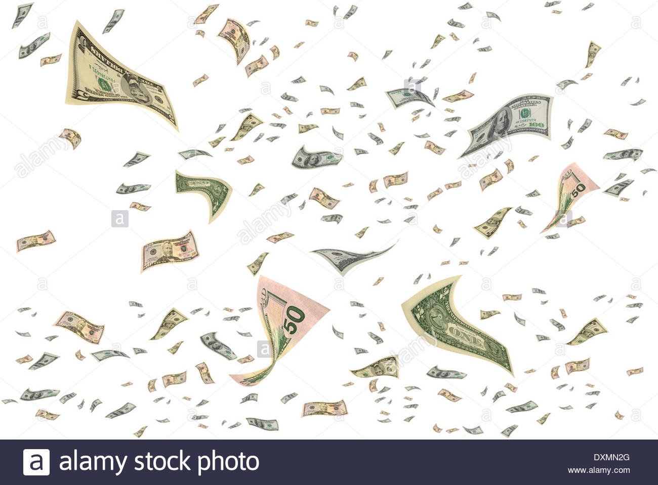 Money is flying in the air. - Stock Image