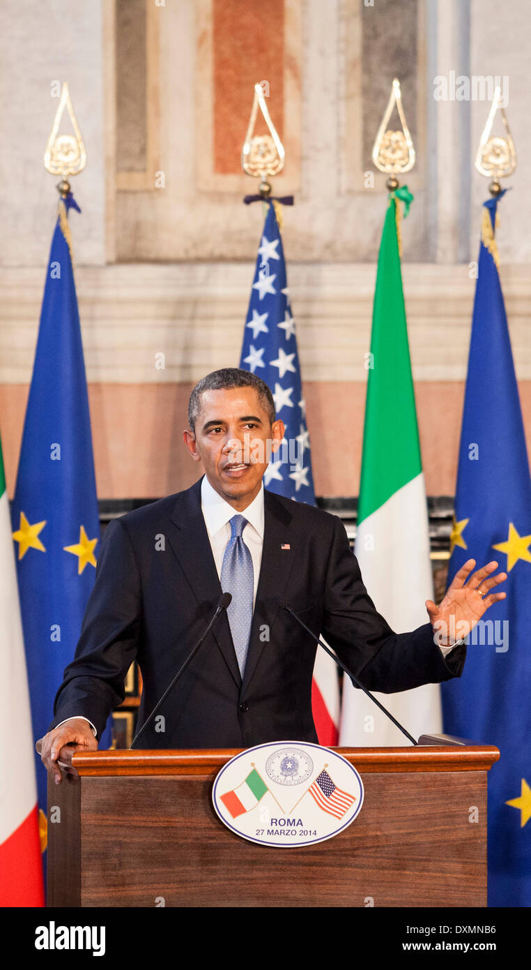 Rome, Italy. 27th Mar, 2014. President Barack Obama and Prime Minister Matteo Renzi at Villa Madama in Rome, Italy - Stock Image