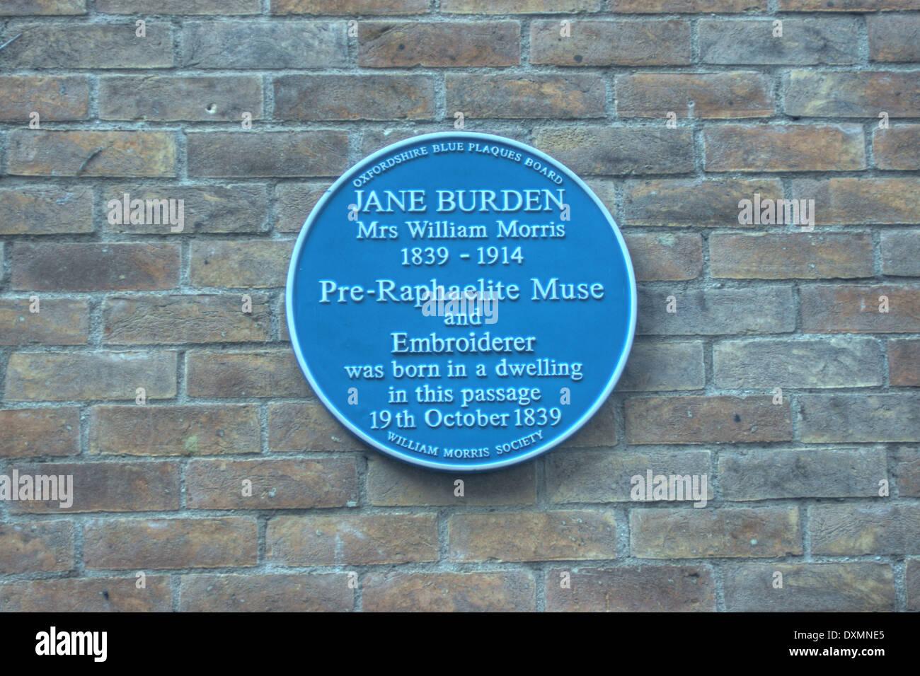 Plaque to Jane Burden, Pre-Raphaelite muse, oxford - Stock Image
