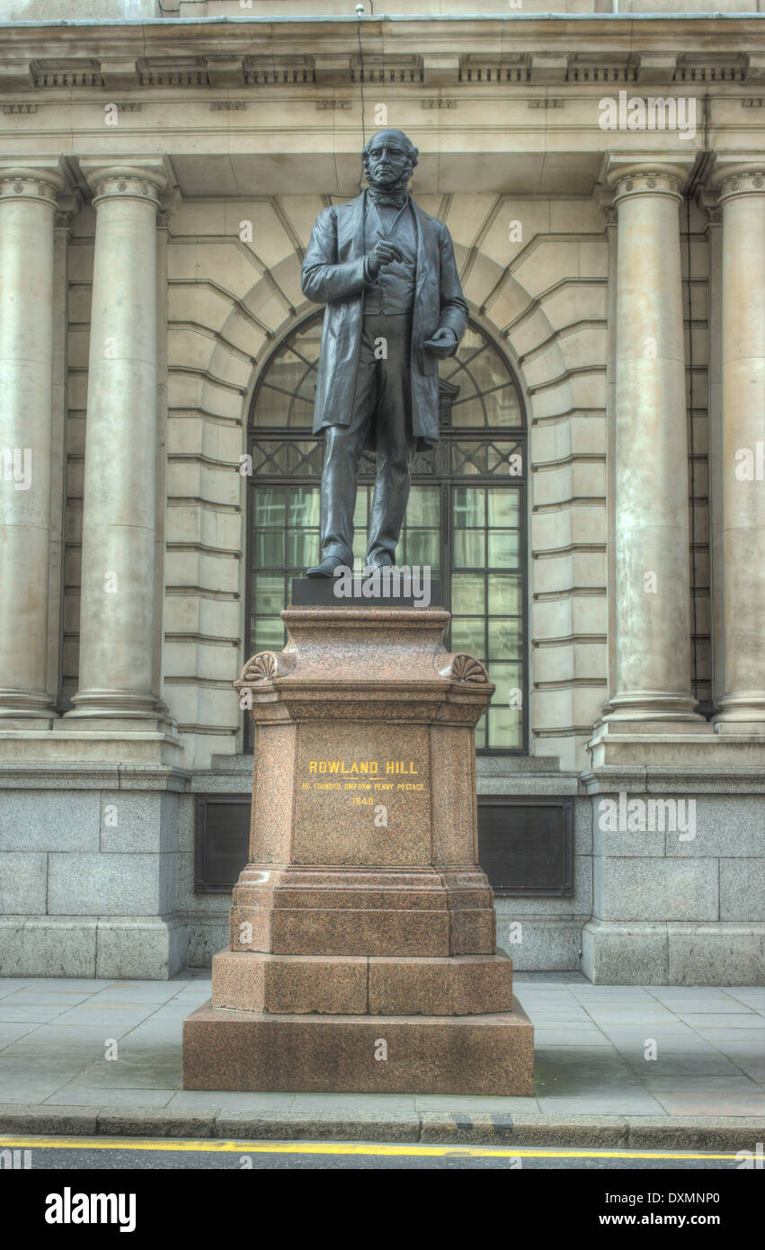 Statue of Rowland Hill. city of London - Stock Image