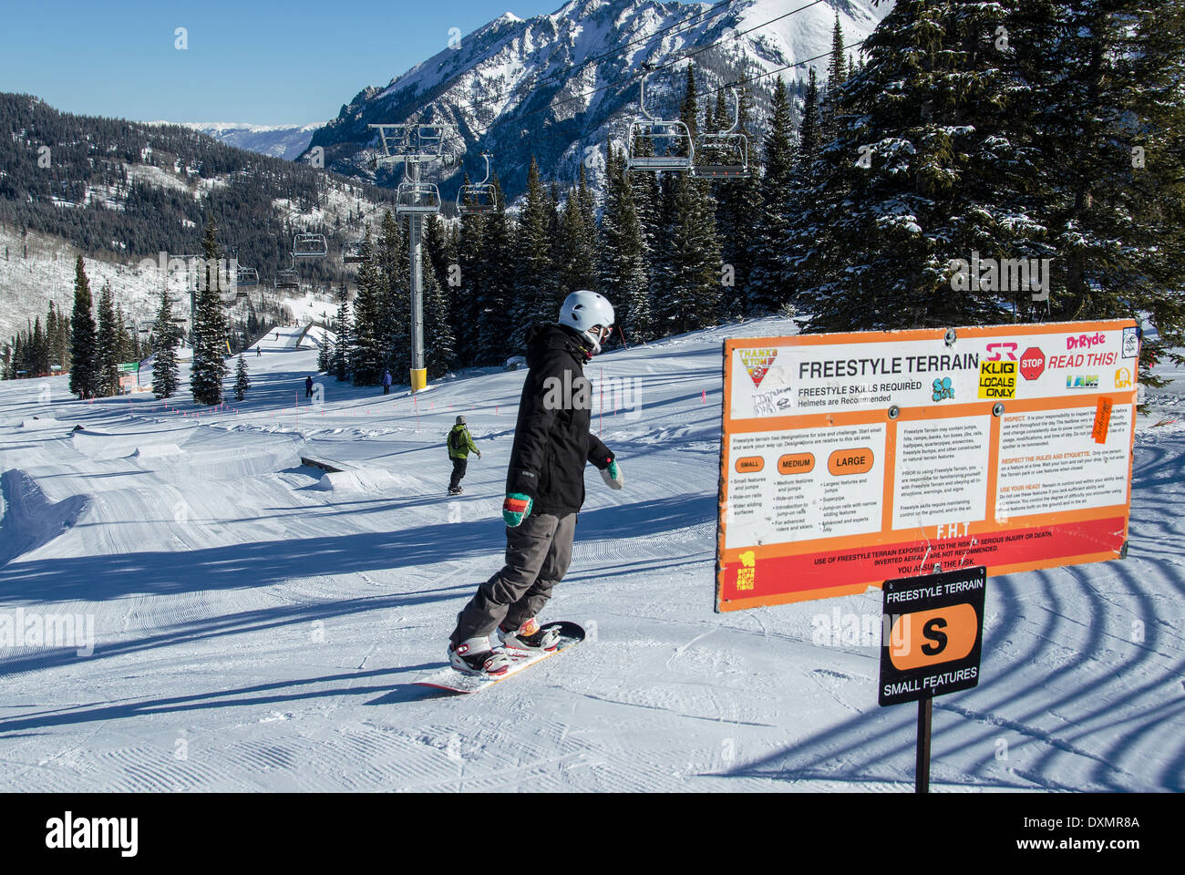Snowboarder at Woodward Terrain Park Copper Mountain Colorado USA - Stock Image
