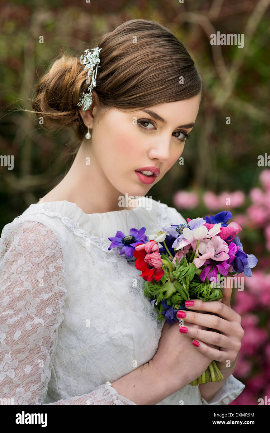 Young bride on her wedding day - Stock Image