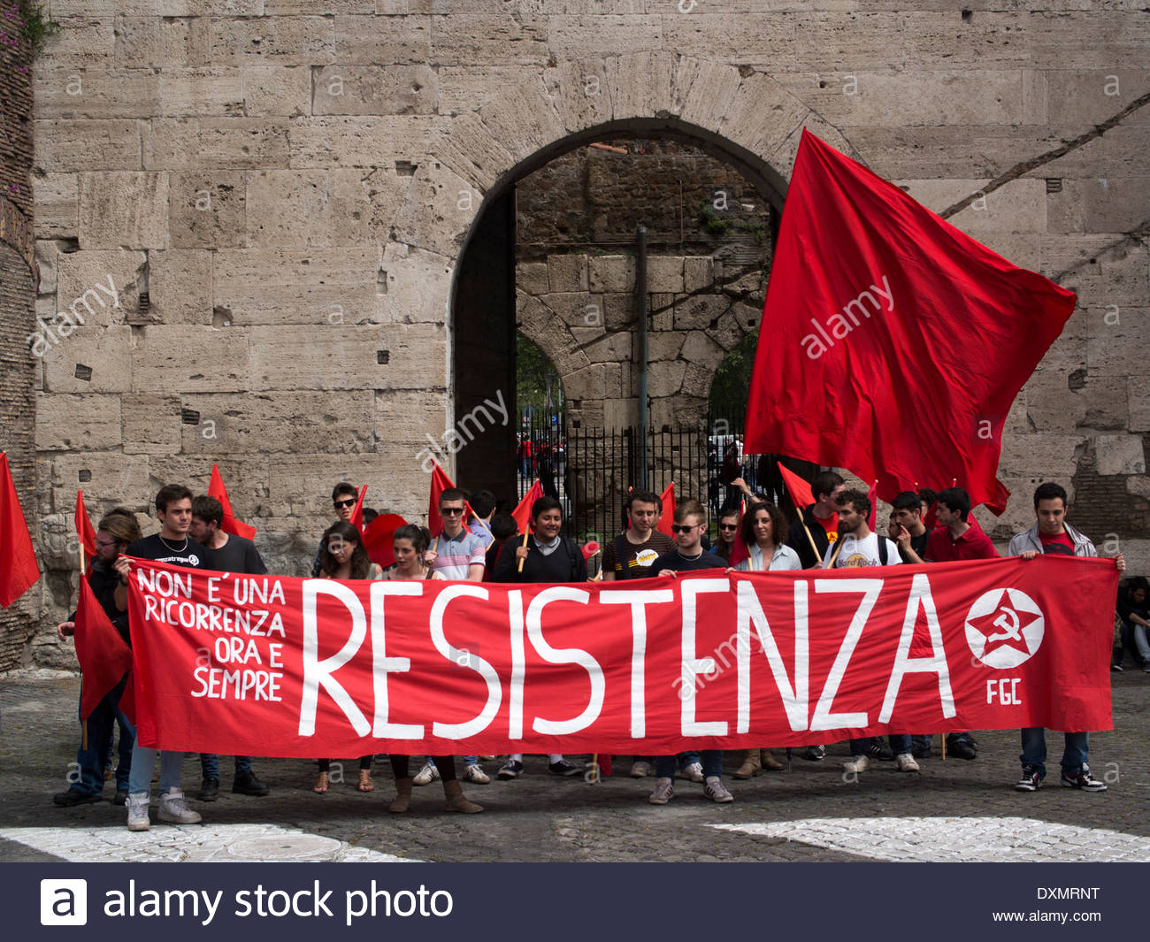 Young communists at Piazza le Ostiense, Liberation Day parade, Rome, Italy - Stock Image