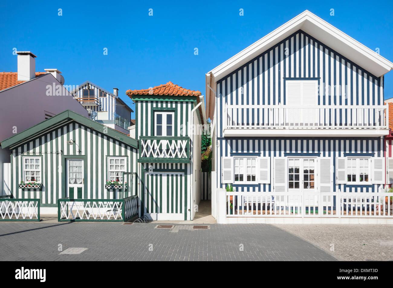 Palheiros, Typical colorful houses, Costa Nova, Aveiro, Beira, Portugal Stock Photo
