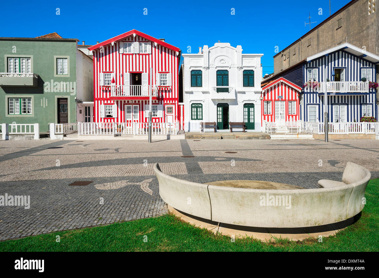 Palheiros, Typical colorful houses, Costa Nova, Aveiro, Beira, Portugal Stock Photo