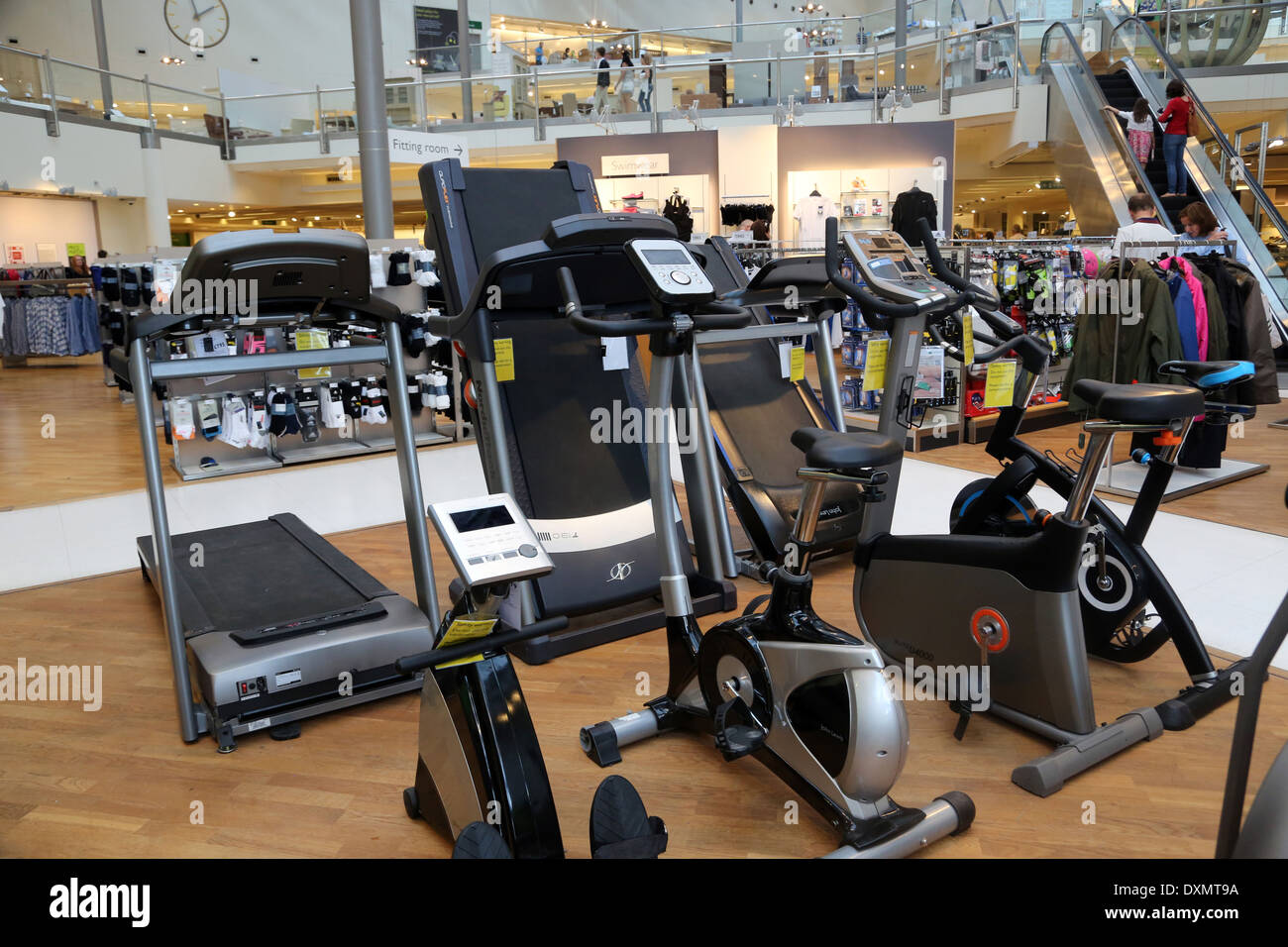 Kingston Upon Thames Surrey John Lewis Store Sports Equipment Cycling Machines, Treadmills And Rowing Machine - Stock Image
