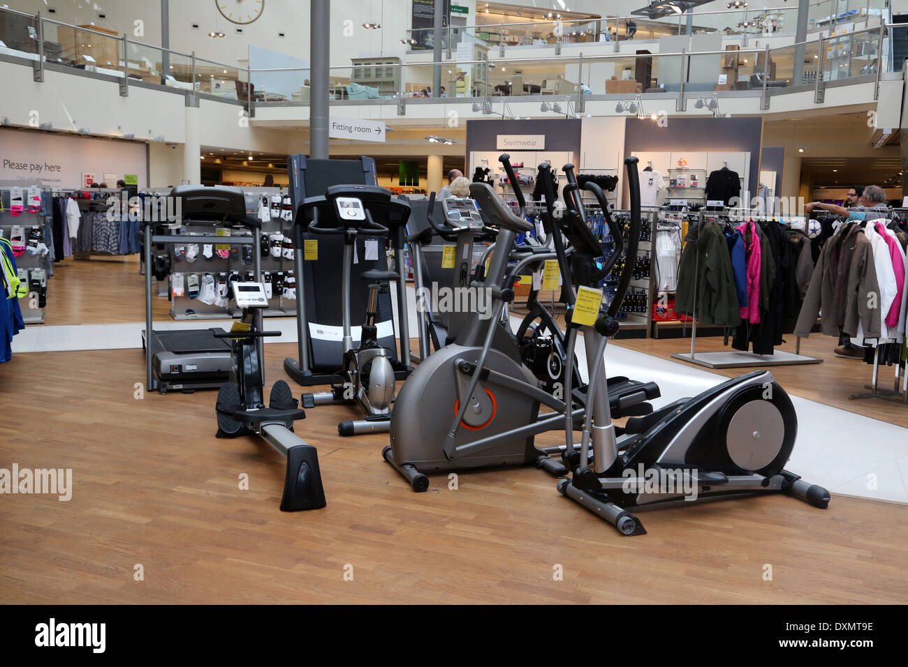 Kingston Upon Thames Surrey John Lewis Store Sports Equipment Cycling Machines, Treadmills, Rowing Machine And Cross Trainers - Stock Image