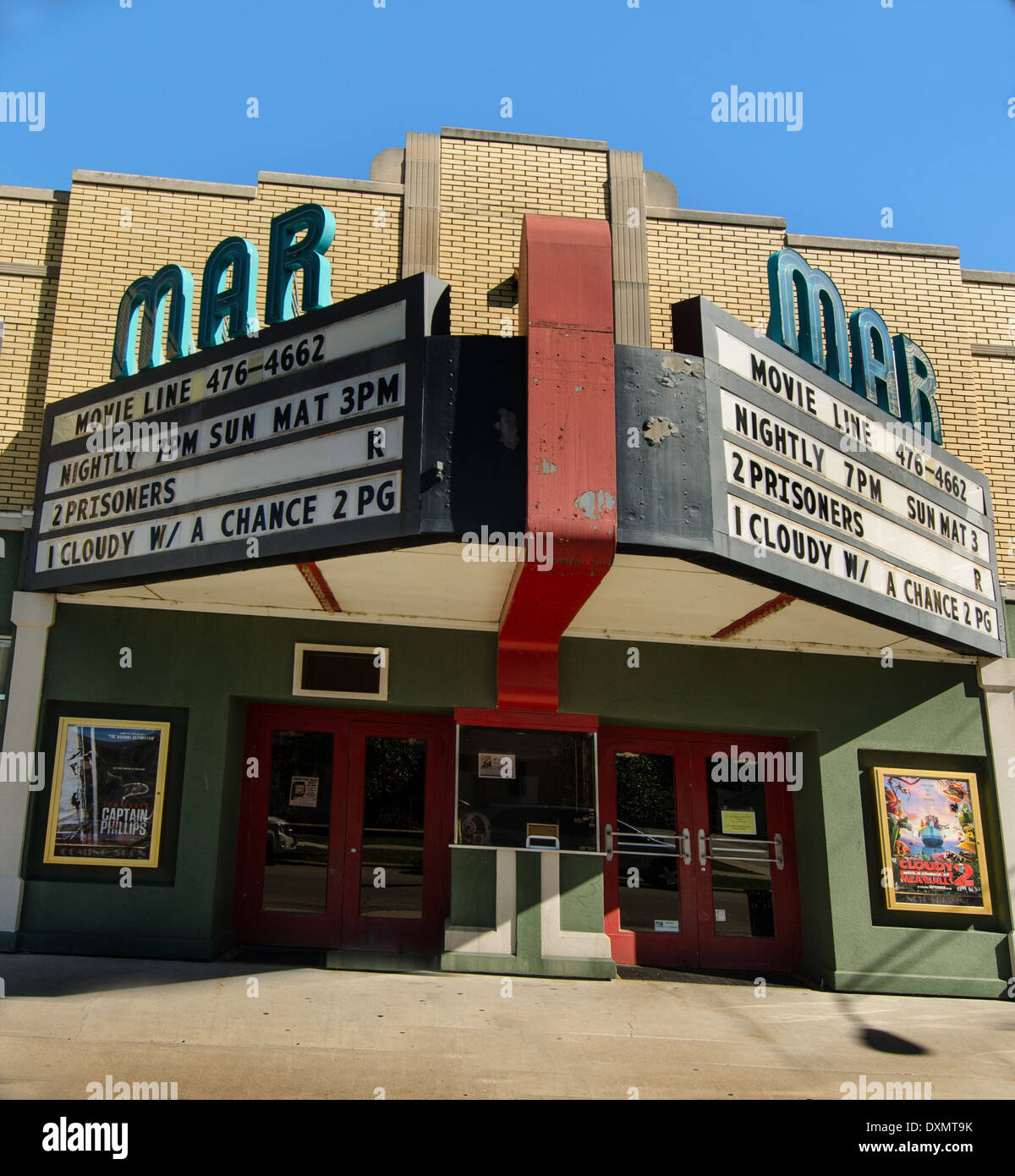The historic Mar Theater, which opened in 1937, is still in operation in Wilmington, Illinois, a town along Route 66. - Stock Image