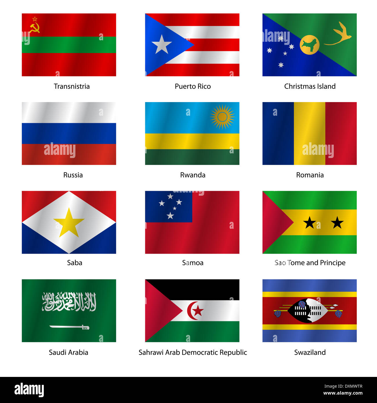 Set  Flags of world sovereign states. Vector illustration. - Stock Image