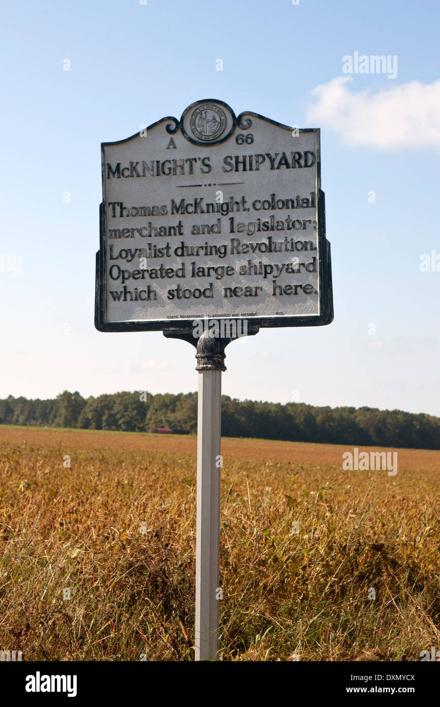 McKNIGHT'S SHIPYARD Thomas McKnight, colonial merchant and legislator; Loyalist during Revolution. Operated large shipyard which stood near here. State Department of Archives and History, 1971 - Stock Image
