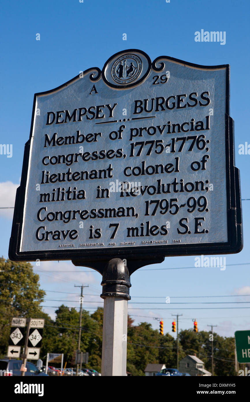 DEMPSEY BURGESS  Member of provincial congresses, 1775–1776; lieutenant colonel of militia in Revolution; Congressman, 1795–99. - Stock Image
