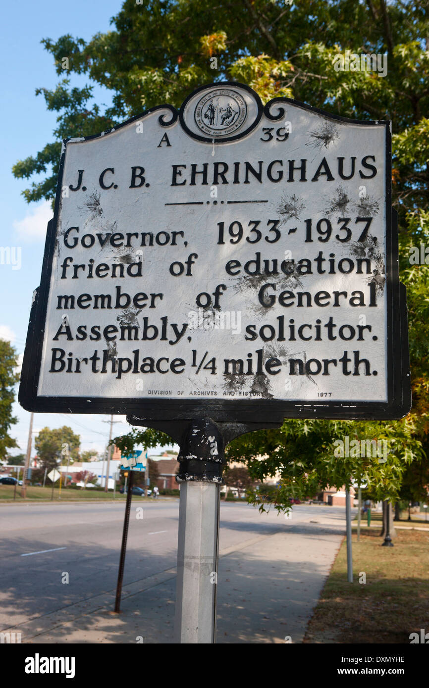 J.C.B. EHRINGHAUS  Governor, 1933-1937, friend of education, member of General Assembly, solicitor. Birthplace 1/4 mile North. - Stock Image