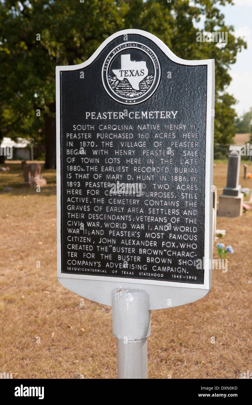 PEASTER CEMETERY  South Carolina native Henry H. Peaster purchased 160 acres here in 1870. The village of Peaster began with Hen - Stock Image