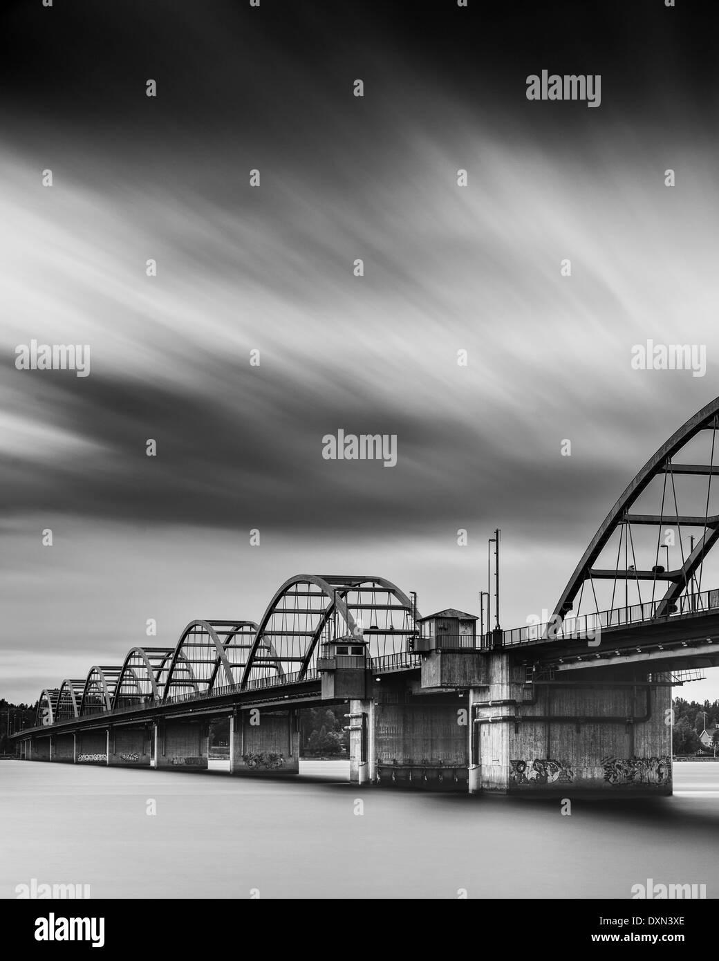 Arch bridge over river Luleälven - Stock Image